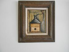 Oil painting on canvas of old coffee grinder - Beautiful frame