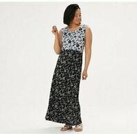Joan Rivers Petite 1X Scoop-Neck Floral Print Maxi Dress, Black, NWT A351441