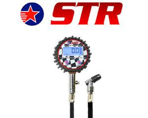 Motorsport Backlight Digital Tyre Pressure Gauge 200 PSI Swivel Chuck & Bleed