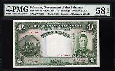 BAHAMAS 4 SHILLINGS 1936 (ND 1947) PMG 58 CHOICE ABOUT UNC EPQ P.9e KING GEORGE