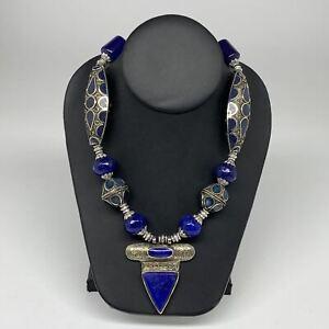 Turkmen Necklace Afghan Antique Tribal Lapis Lazuli Pendant Necklace Handmade T1