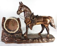 """Antique Copper Brass Horse With Horseshoe Clock 17"""" Long"""