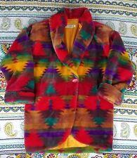 Donnybrook Aztec Southwest Print Faux Fur Vintage Coat Jacket sz S Navajo 80s