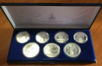 1980 Moscow Olympics PROOF SILVER  7 Coins 5 & 10 ROUBLES Set and Box