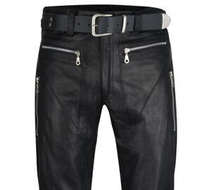 Lederhose W33 Designer Lederjeans 48 schwarz NEU Hose Leder 33 leather  pants