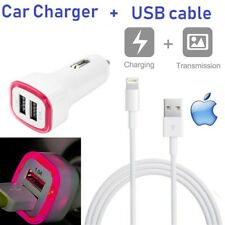 Double USB Universal Pink LED CAR CHARGER W/ USB Cable For iPhone 5s,6s,7,8,X,XS