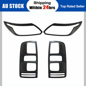 Black Headlight Taillight Surrounds Lamp Covers for Holden Colorado RG 2016-2019