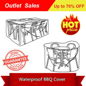 Sun UV Block  Waterproof Table Chairs Furniture Set Cover 310x175x85cm Grey