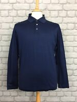 LAGERFELD MENS UK L NAVY LONG SLEEVE POLO SHIRT DESIGNER CASUAL LOGO SMART