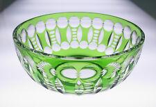 "Quality Vintage Green Cut To Clear 8"" Glass Bowl Bohemian Crystal Czech Bohemia"