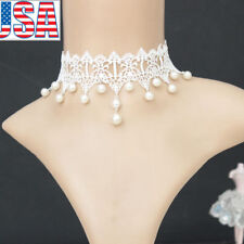 White Lace Pearl Choker Lady Victorian Steampunk Gothic Collar Bride Necklace