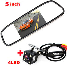 "Universal 4LED Car Rearview Rear View Parking Camera+5"" TFT LCD Mirror Monitor"
