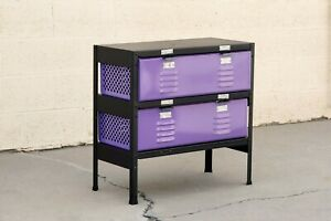 2 x 2 Locker Basket Unit in Lilac, Vintage Inspired/ Newly Fabricated to Order