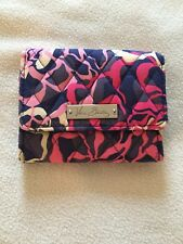Vera Bradley Bi-fold Small Snap Closure, Blue Pink and White Colors