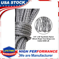 "New 1/4""X 50' Synthetic Winch Rope Line Recovery Cable 10000LBS ATV 4WD W/Sheath"