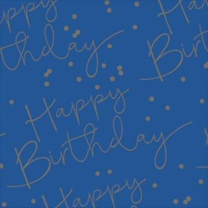 HAPPY BIRTHDAY Blue + Silver Foiled Gift Wrapping Sheet Paper Mens Boys Party