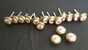Vintage Amerock Royal Family Knobs Brass Porcelain 63857-10 Lot of 16
