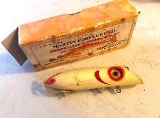 Antique Martin Lure Co 4 1/2 Pearl Washington Vintage Wooden Plug W/box