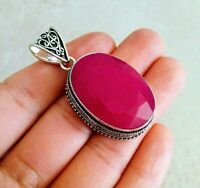 """NATURAL OVAL PINK RUBY 925 STERLING SILVER PENDANT 2"""" NECKLACE CHARM FILIGREE"""