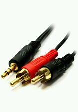 Extra Larga 15m 3.5mm Conector Jack a 2x RCA Cable Twin Phono Audio estéreo de plomo oro