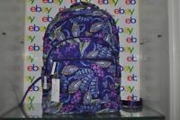 Vera Bradley Essential Large Backpack 23672-J99 Batik Leaves Purple Cotton NWT