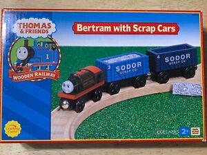 Thomas Wooden Railway 2002 Bertram with Scrap Cars - Brand New