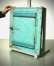ANTIQUE VINTAGE INDIAN RECLAIMED SHUTTERED WINDOW MIRROR. BABY BLUE & TURQUOISE.