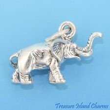 ELEPHANT 3D .925 Solid Sterling Silver Charm Pendant MADE IN USA