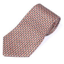 DUNHILL TAILORS Vintage Brown Paisley Black Boxes Men's Silk Neck Tie
