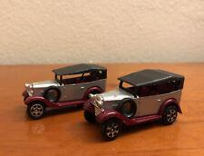 Tomica Datsun No.60, Scale 1/49, Silver/Maroon Antique Sedan, Lot Of 2
