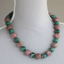 """GREEN & BROWN PICTURE JASPER CHUNKY NECKLACE 20"""""""