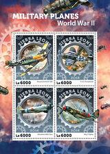 Sierra Leone 2016 MNH WWII WW2 Military Planes 4v M/S Aviation Stamps