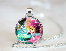 Pink and Yellow Butterfly Tibetan silver Dome Glass Art Chain Pendant Necklace