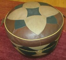 Vintage aged Boho 60`s 70`s faux leather round pouffe seat foot rest