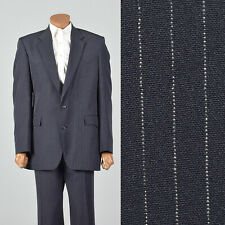 42L 1970s Mens Two Piece Suit Two Button Blue Pinstripe Western Style 70s Vtg