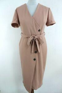 WALLIS BNWT Dusty Pink Short Sleeve Button Up Woman Wrap Dress Size 38 EU S