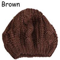 Women Girls Beret Braided Baggy Knit Crochet Beanie Hat Ski Cap Winter Warm Cap
