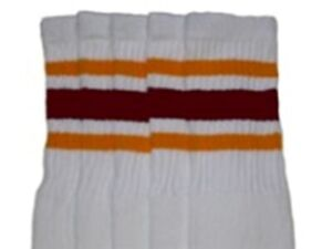 """19"""" MID CALF WHITE tube socks with GOLD/MAROON stripes style 3 (19-18)"""