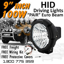 100w HID Driving Lights - 100 watt 9 inch EURO/Spread Beam **Aussie Seller**