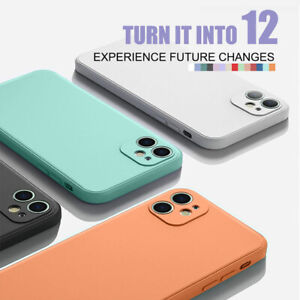 1PC Phone Case For iPhone 12Pro Max 11 X 7 Liquid Silicone Skin Soft TPU Cover