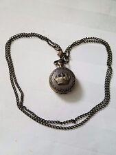 Retro Metal Crown Pendant Necklace   Quartz Watch