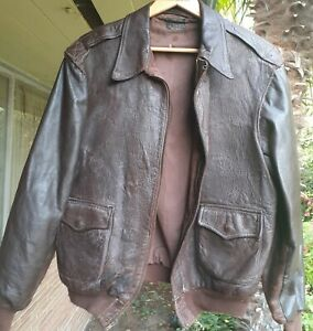 REAL ORIGINAL Aero Leather Flight Bomber Jacket A-2 Size 44 WW2 NOT REPRODUCTION