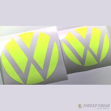 Emblem esquinas amarillo flúor delante + atrás VW Golf 7 GTI VII GTD R turbo logotipo