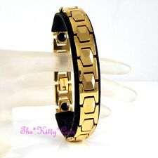 Magnetic Tungsten Arthritis Relief Unisex Geometric Hexagon 24K Gold PL Bracelet