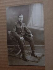 Postcard WW1  Soldier London Territorial Royal Engineers Swagger Stick