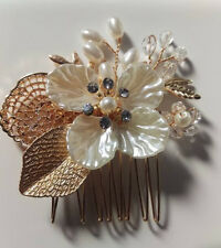 Wedding women hair bride Accessories Gold Leaf pearl Comb piece Clip Pin Bridal