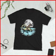 Funny Bigfoot Riding Nessie Loch Ness Monster _ Full Moon T-Shirt
