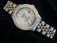 Rolex Datejust Lady 14K Yellow Gold & Steel Watch 1.50ct Diamond Bezel White MOP