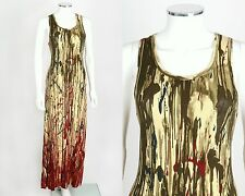 JEAN PAUL GAULTIER JEANS MULTICOLOR PAINT SPLATTER PRINT SLEEVELESS MAXI DRESS