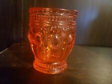 "Depression Glass? Cranberry Pinkish Orange Glass Jar Tumbler, 4"" Height"